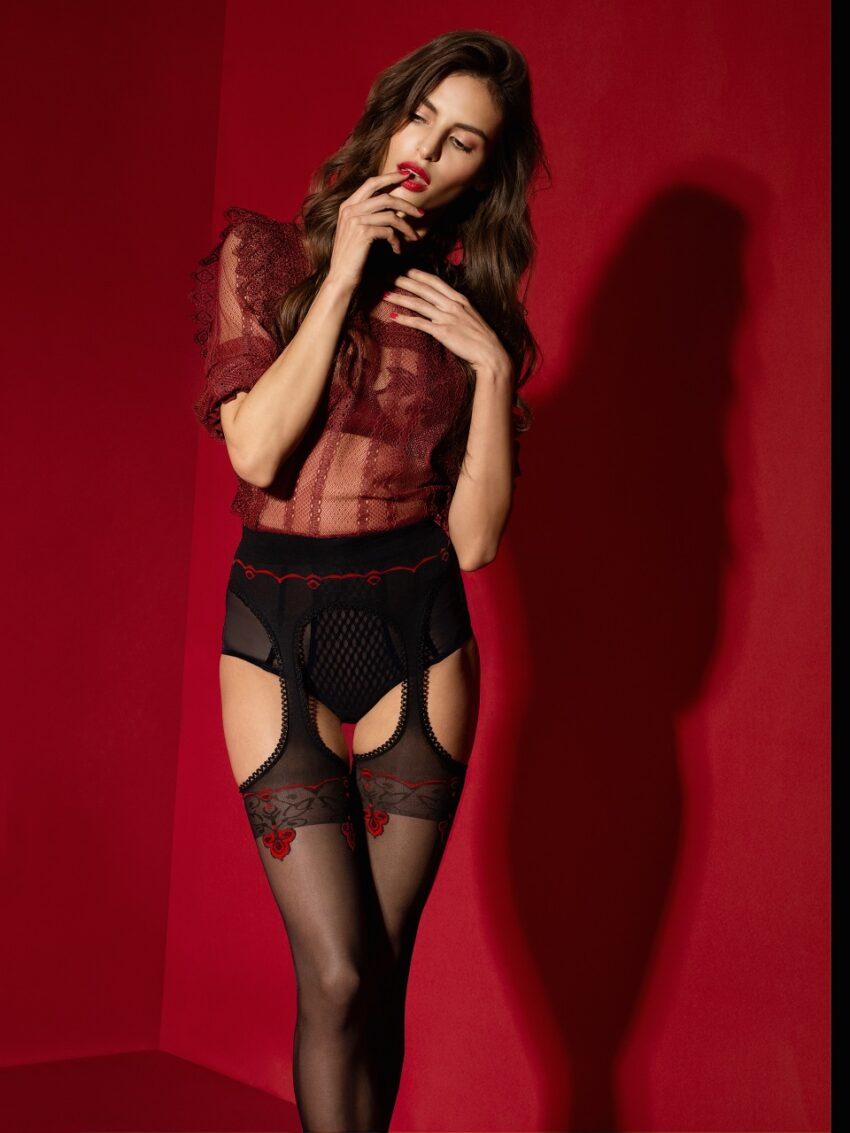 Fiore Amour Rouge Red patterned Suspender Tights