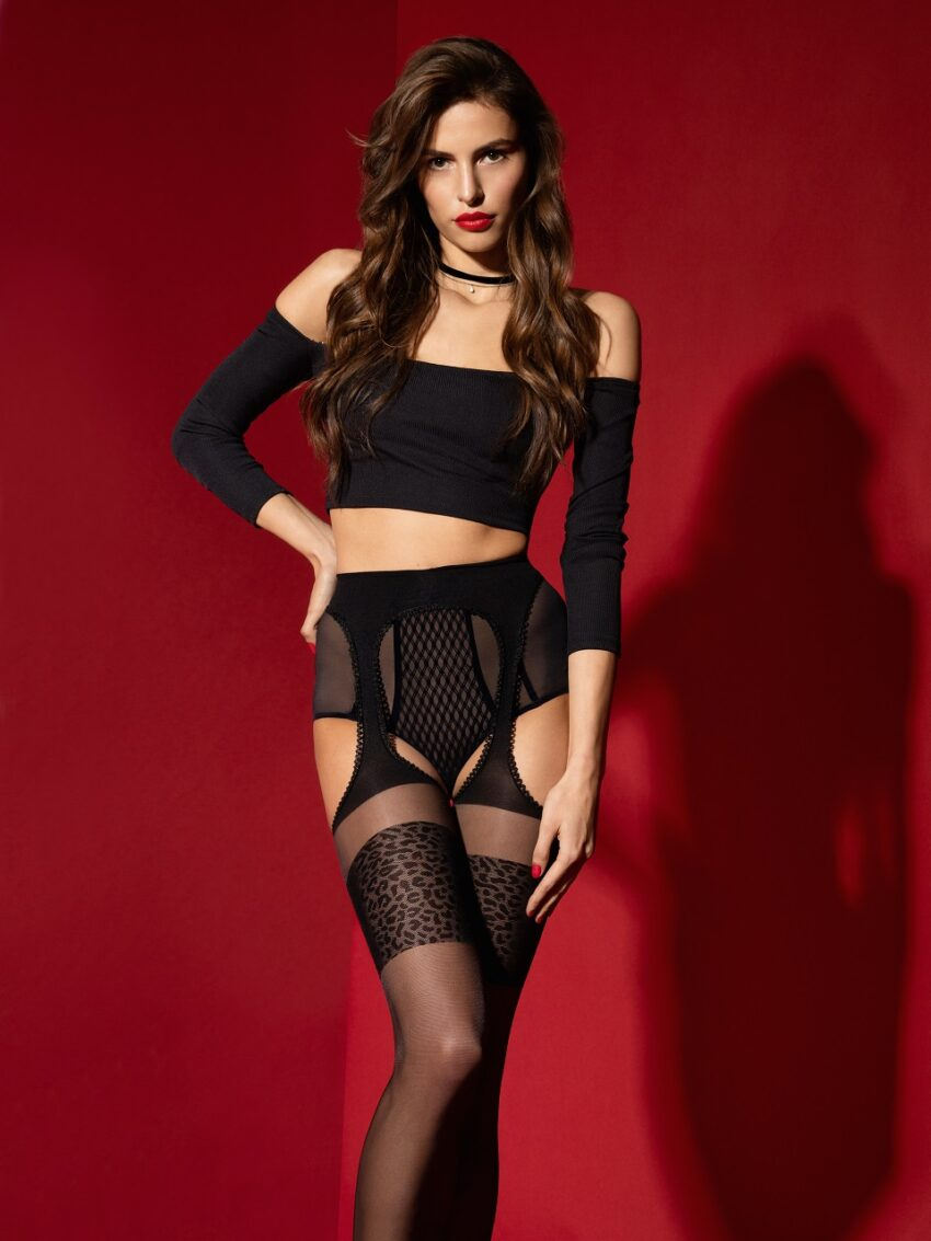 Fiore Amour sauvage patterned Suspender Tights