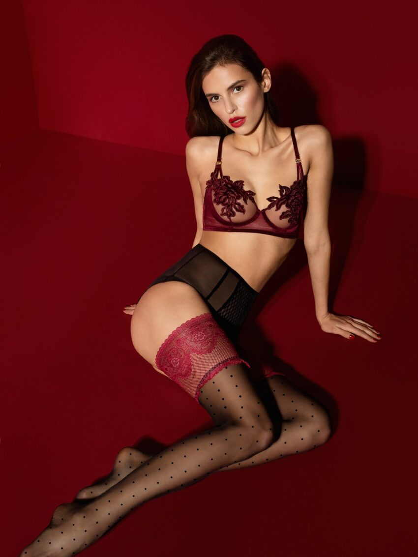 FiORE Catherine Hold ups red lace patterned