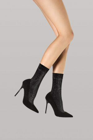 Fiore Dreamer Socks Black Metallic Pattern