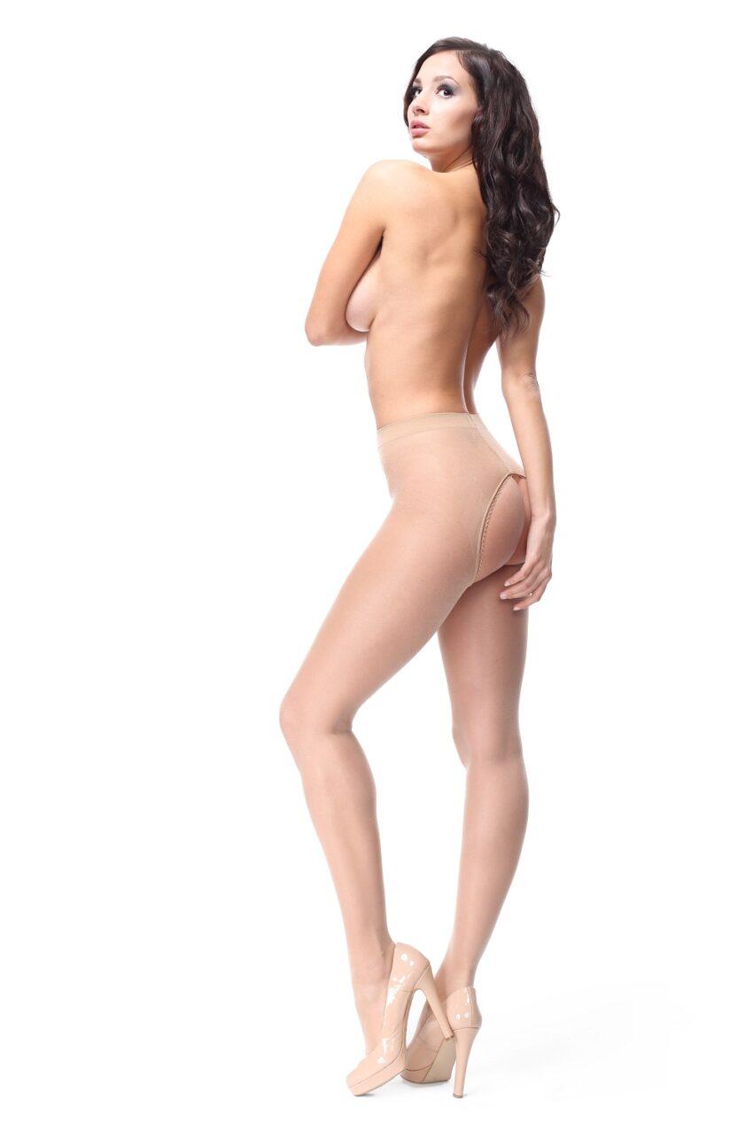 Misso P201 Beige Pantyhose Large Open Crotch