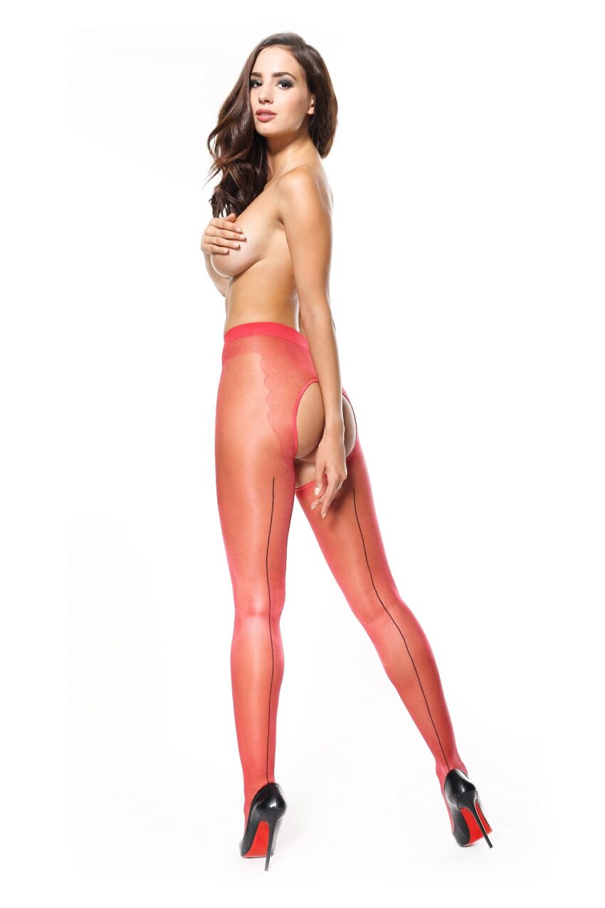 Misso P211 Red Seamed Large Open Crotch Pantyhose