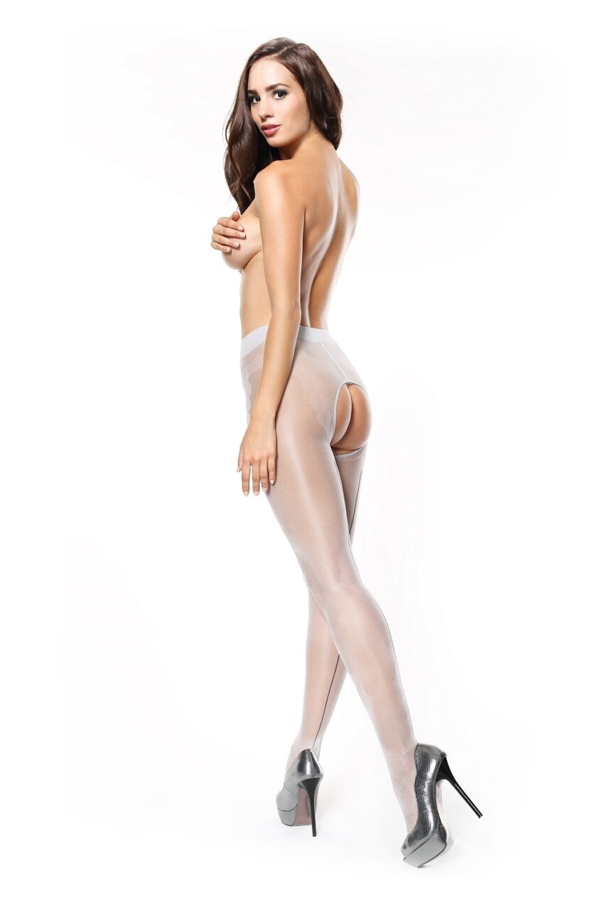 Misso P211 Silver Seamed Large Open Crotch Pantyhose